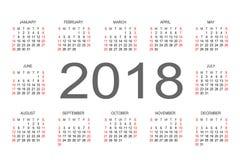 Calendario plantilla del diseño del vector de 2018 años Imágenes de archivo libres de regalías