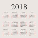 Calendario plantilla del diseño del vector de 2018 años Foto de archivo libre de regalías