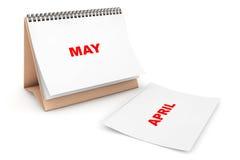 Calendario plegable con la página del mes de mayo Imágenes de archivo libres de regalías