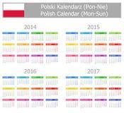 Calendario polacco 2014-2017 di tipo 1 Lunedì-Sun Fotografia Stock Libera da Diritti