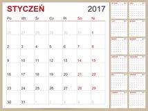 Calendario polacco 2017 Royalty Illustrazione gratis