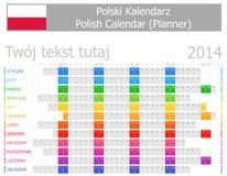 Calendario polacco del pianificatore 2014 con i mesi orizzontali Fotografia Stock Libera da Diritti