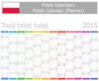 Calendario polacco del pianificatore 2015 con i mesi verticali Fotografia Stock Libera da Diritti