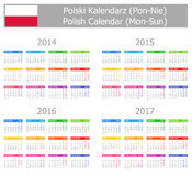 Calendario polaco 2014-2017 del tipo 1 Lunes-Sun Fotografía de archivo libre de regalías