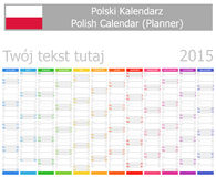 Calendario polaco del planificador 2015 con meses verticales Fotografía de archivo libre de regalías