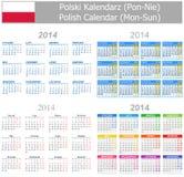 Calendario polaco Lunes-Sun de la mezcla 2014 Fotos de archivo