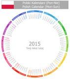 Calendario polaco Lunes-Sun del círculo 2015 Foto de archivo libre de regalías