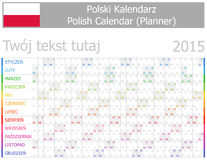 Calendario polaco 2015 Planner-2 con meses horizontales Foto de archivo libre de regalías