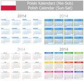 Calendario polaco Sun-Sat de la mezcla 2014 Imágenes de archivo libres de regalías