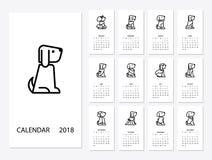 Calendario por 2018 años stock de ilustración