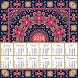 Calendario por 2018 años en fondo floral étnico Mandala Pattern Imágenes de archivo libres de regalías