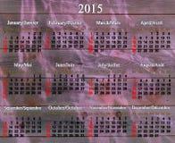Calendario por 2015 años en inglés y francés Fotos de archivo libres de regalías