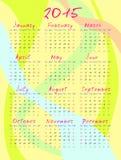 Calendario por 2015 años Fondo coloreado de las rayas Vector ilustración del vector