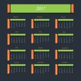 Calendario por 2017 años La semana empieza de domingo Imagen de archivo libre de regalías