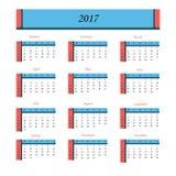 Calendario por 2017 años La semana empieza de domingo Fotografía de archivo libre de regalías