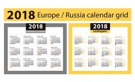 Calendario por 2018 años Rejillas europeas y rusas Cuatro columnas imagenes de archivo
