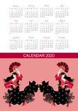 Calendario por 2020 a?os Diseño con las muchachas hermosas con las fans en sus manos, flamenco de baile del vector stock de ilustración