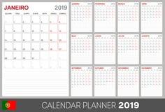 Calendario portoghese 2019 illustrazione vettoriale