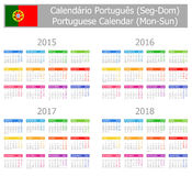 Calendario portugués 2015-2018 del tipo 1 Lunes-Sun Fotografía de archivo libre de regalías