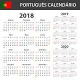 Calendario portugués para 2018, 2019 y 2020 Planificador, orden del día o plantilla del diario Comienzo de la semana el lunes Foto de archivo