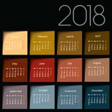 calendario 2018 Post-it del color Foto de archivo libre de regalías