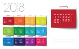 calendario 2018 Post-it del color Imagenes de archivo