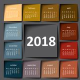 calendario 2018 Post-it del color Imagenes de archivo