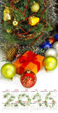 Calendario Primer 2016 de las decoraciones de la Navidad de la imagen Imágenes de archivo libres de regalías