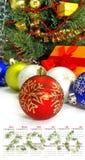 Calendario Primer 2016 de las decoraciones de la Navidad de la imagen Fotos de archivo libres de regalías
