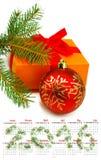 Calendario Primer 2016 de las decoraciones de la Navidad de la imagen Foto de archivo libre de regalías