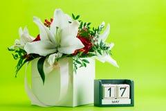 Calendario primer del 17 de mayo, dof bajo Fotografía de archivo libre de regalías
