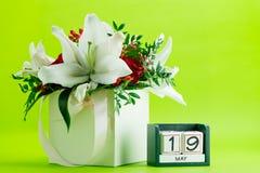 Calendario primo piano del 19 maggio, dof basso Immagine Stock