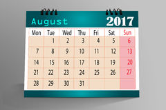 Calendario progettazione agosto 2017 da tavolino illustrazione di stock