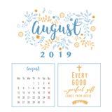 Calendario 2019, progettazione del fiore royalty illustrazione gratis