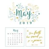 Calendario 2019, progettazione del fiore illustrazione di stock