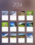 Calendario 2014 - progettazione piana Fotografia Stock Libera da Diritti