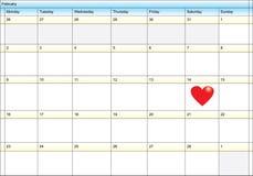 Calendario que muestra día de tarjeta del día de San Valentín stock de ilustración