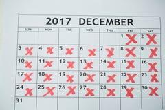 Calendario que muestra el 31 de diciembre y otros días marcados Imagen de archivo