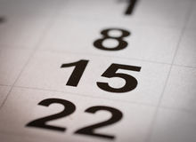 Calendario quince y veintidós foto de archivo