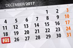 Calendario quotidiano per il 25 dicembre Fotografie Stock
