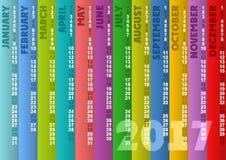 Calendario rayado coloreado 2017 Fotografía de archivo
