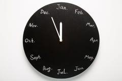 Calendario redondo negro del reloj 12 meses Foto de archivo libre de regalías