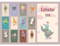 Calendario retro de los animales lindos para el illustr del planificador del vector de 2019 años stock de ilustración