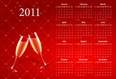 Calendario rosso 2011 di vettore con champagne Immagini Stock Libere da Diritti
