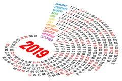 Calendario rotondo 2019 di vettore su fondo bianco Orientamento del ritratto Un insieme di 12 mesi Pianificatore per 2019 anni illustrazione di stock