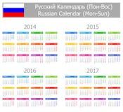 Calendario ruso 2014-2017 del tipo 1 Lunes-Sun Fotografía de archivo libre de regalías