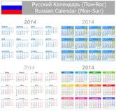 Calendario ruso Lunes-Sun de la mezcla 2014 Imagenes de archivo