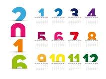 Calendario semplice 2016 Fotografie Stock Libere da Diritti