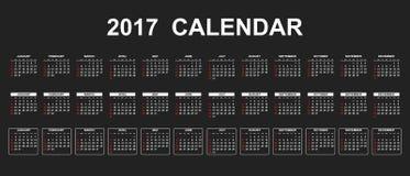 Calendario semplice 2017 Immagine Stock