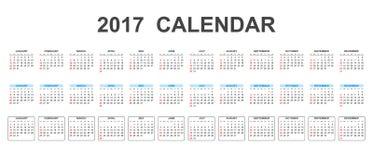 Calendario semplice 2017 royalty illustrazione gratis